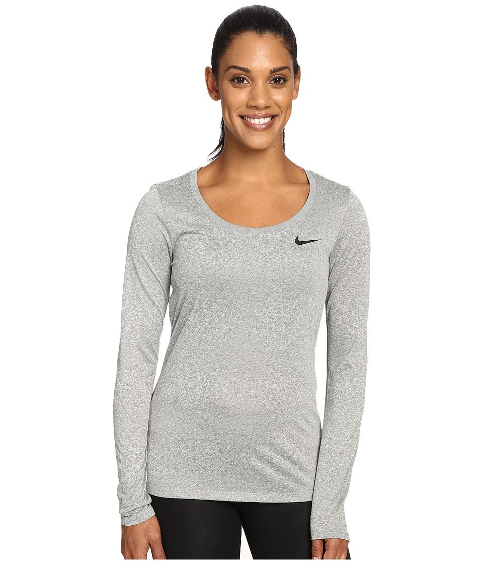 Nike - Dry Long Sleeve Training Top (Dark Grey Heather/Black) Women's T Shirt