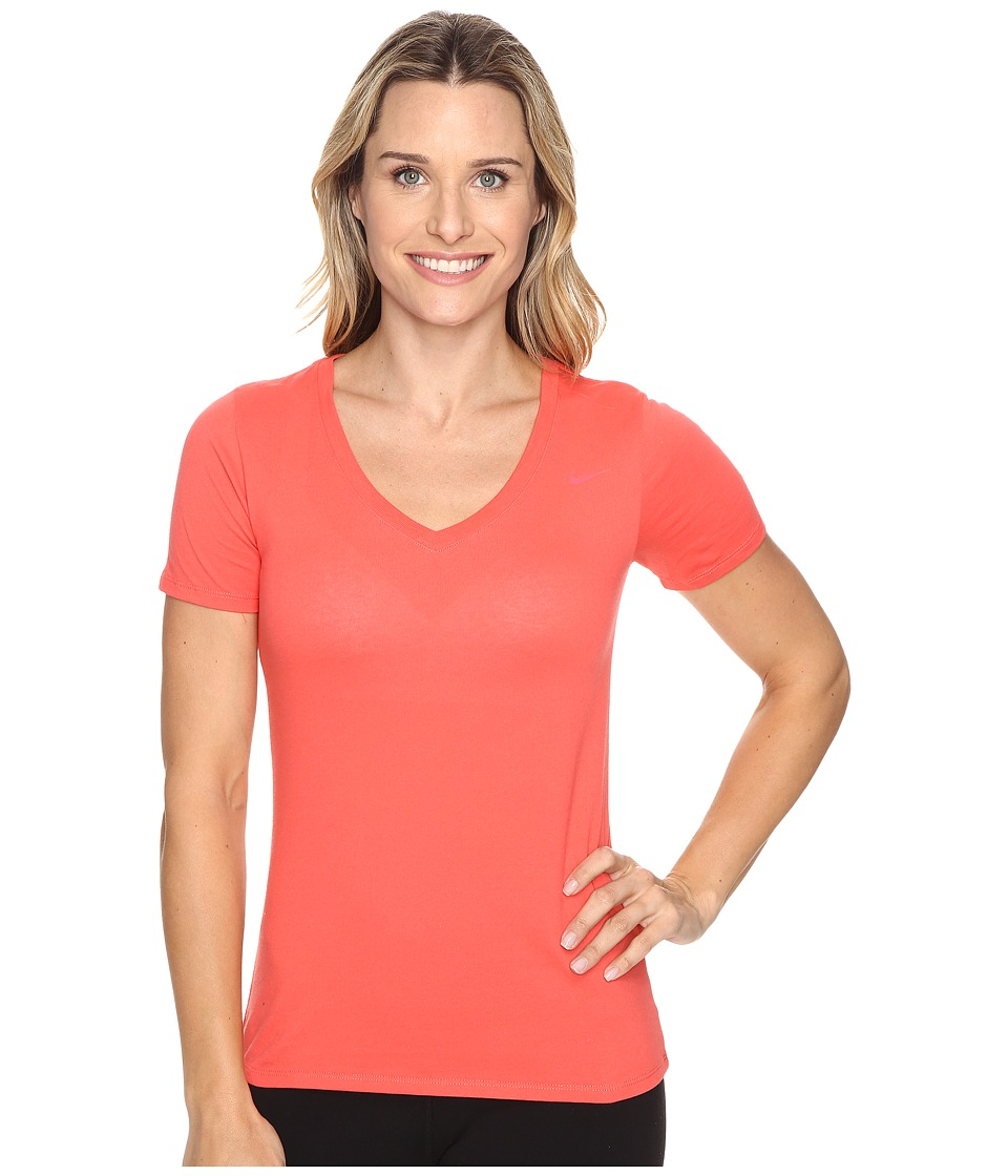 Nike - Dri-FIT Cotton V-Neck Short Sleeve Tee (Ember Glow/Ember Glow) Women's T Shirt