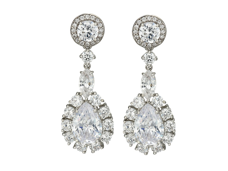Nina - Large Pear Haloed Cluster Earrings (Palladium/CZ) Earring