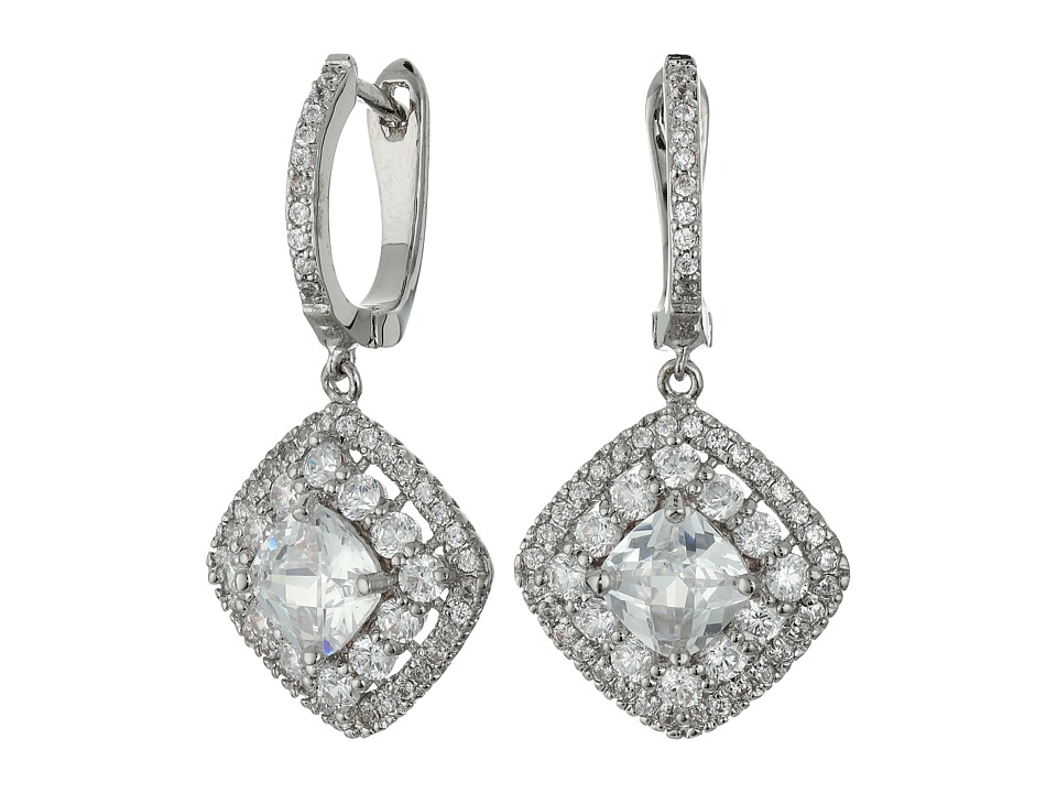 Nina - Double Halo Cushion Checkerboard Cut Center Clear CZ Earrings (Palladium/CZ) Earring