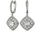Double Halo Cushion Checkerboard Cut Center Clear CZ Earrings