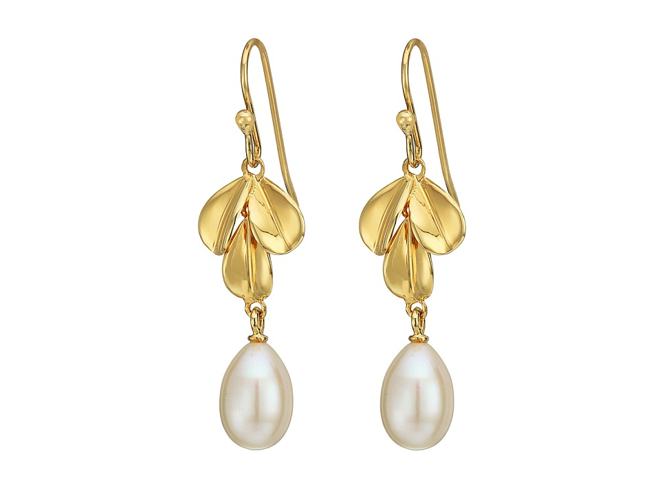 Nina - Fresh Water Pearl Leaf Earrings (Gold/Pearl) Earring