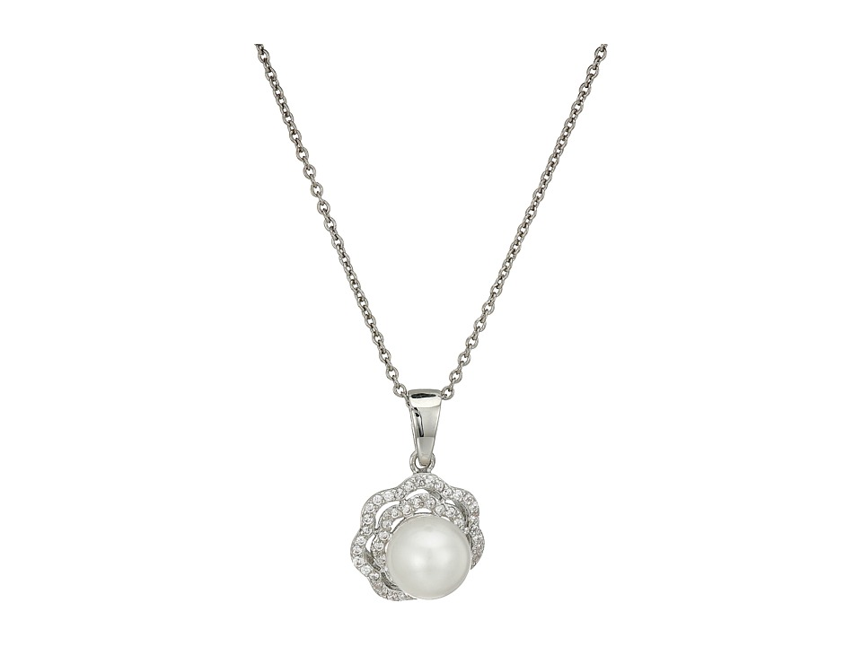 Nina - Fresh Water Pearl/CZ Rose Necklace (Palladium/CZ) Necklace
