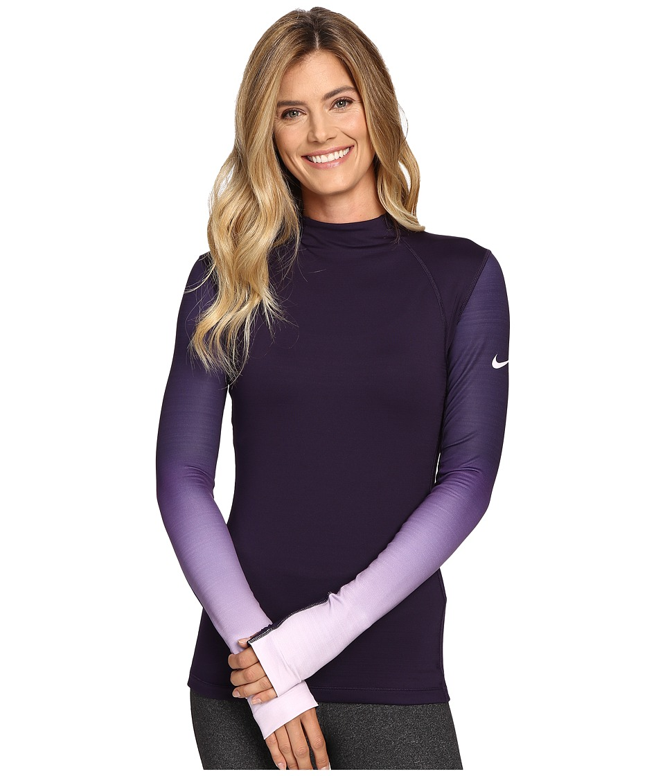 Nike - Pro Hyperwarm Long Sleeve Training Top (Purple Dynasty/Dark Grey/Bleached Lilac) Women's Clothing
