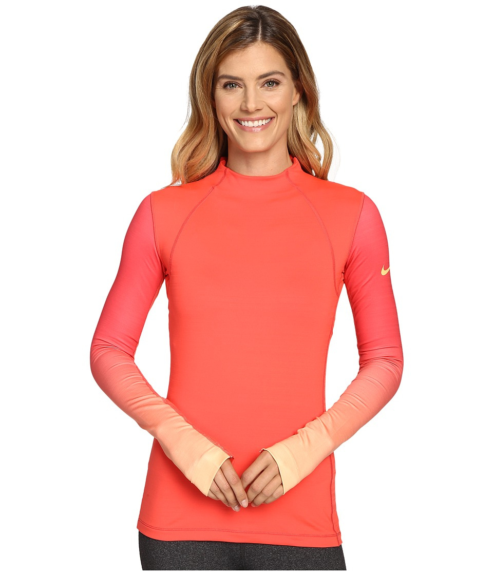 Nike - Pro Hyperwarm Long Sleeve Training Top (Ember Glow/Peach Cream/Peach Cream) Women's Clothing