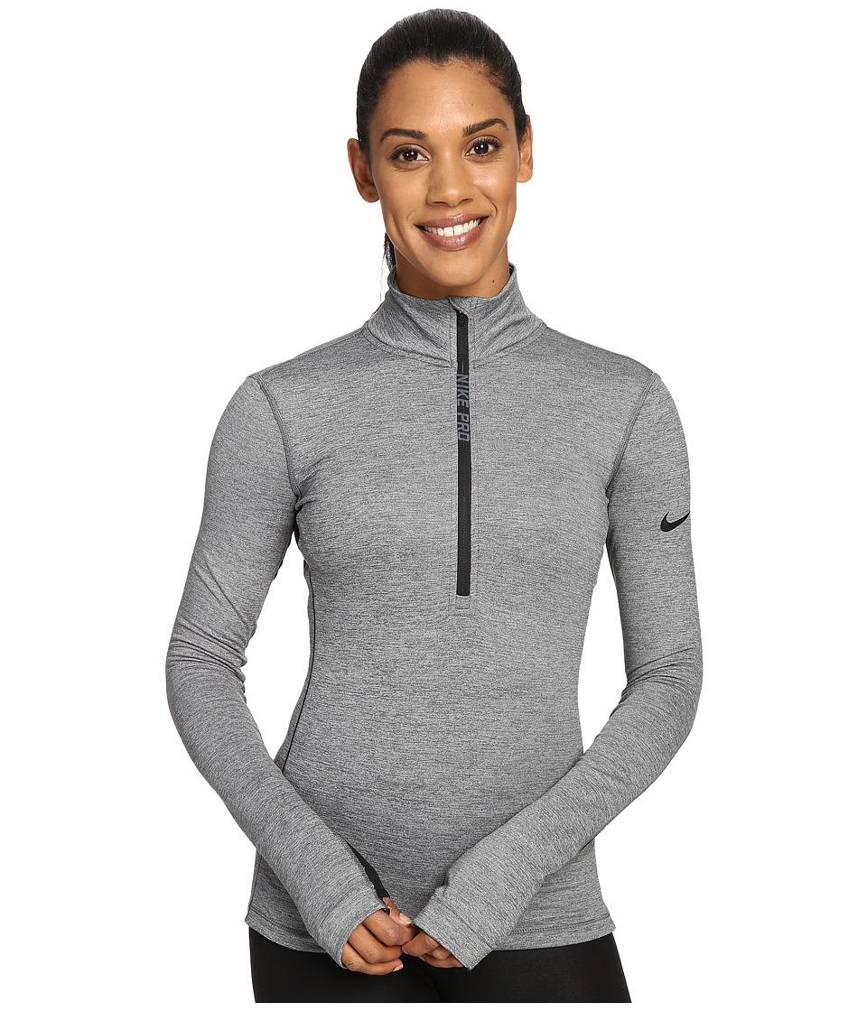 Nike - Pro Hyperwarm 1/4 Zip Training Top (Dark Grey/Heather/Black) Women's Clothing