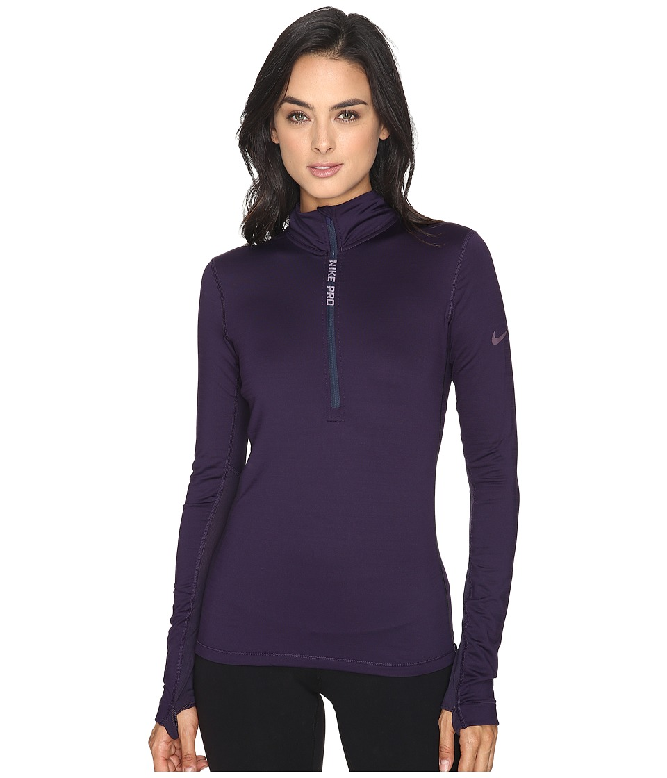 Nike - Pro Hyperwarm 1/4 Zip Training Top (Purple Dynasty/Purple Shade) Women's Clothing
