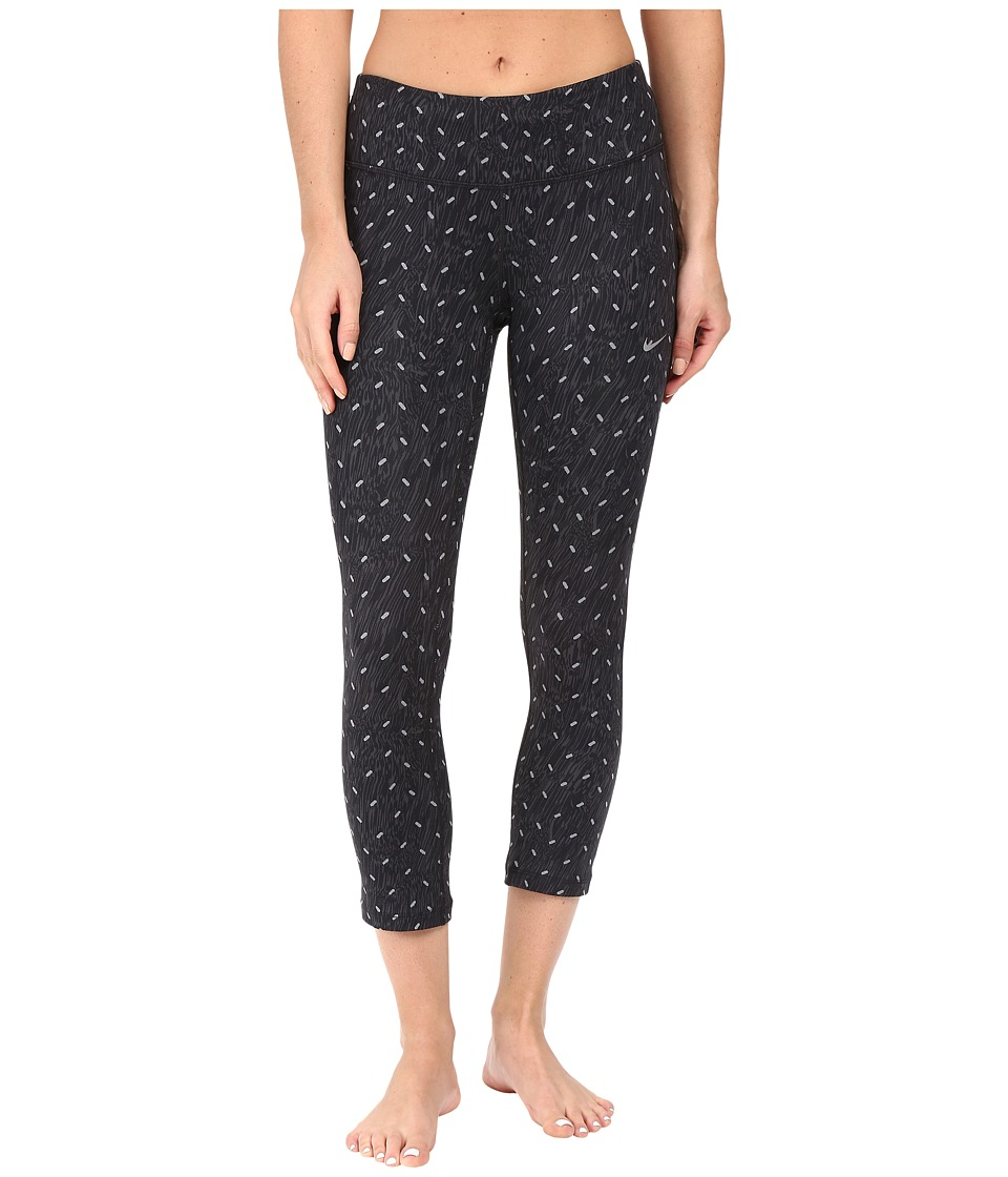Nike - Power Epic Print Running Crop (Black/Reflective Silver) Women's Capri