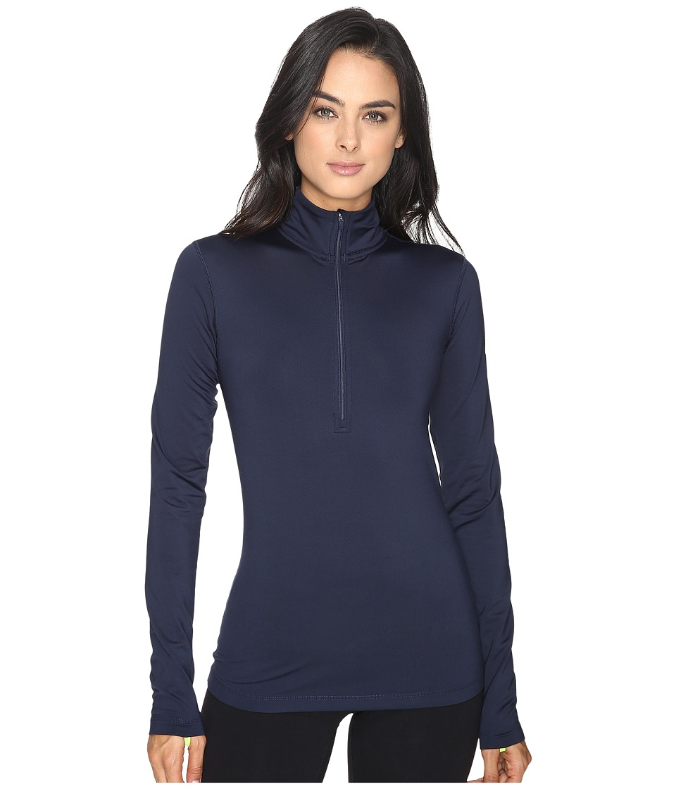 Nike - Pro Long Sleeve Half Zip (Obsidian/Volt) Women's Clothing