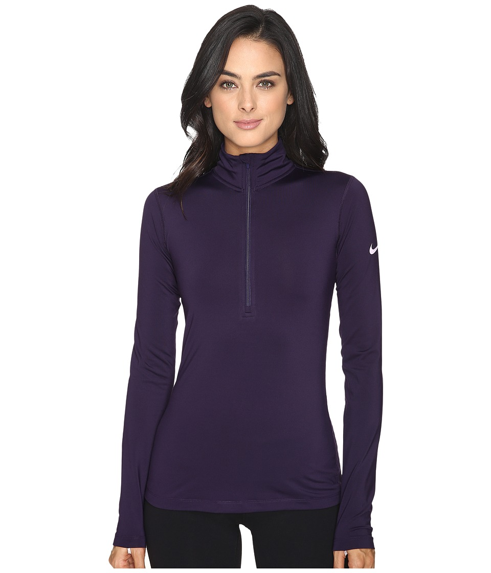 Nike - Pro Long Sleeve Half Zip (Purple Dynasty/Bright Citrus) Women's Clothing