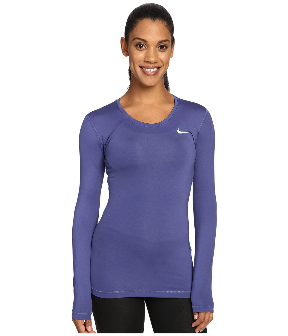 Nike - Pro Cool Training Top (Dark Purple Dust/White) Women's Long Sleeve Pullover
