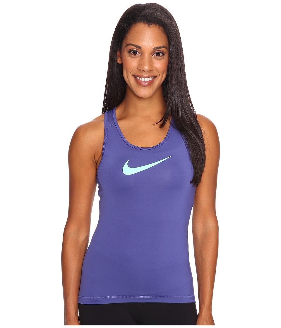 Nike - Pro Cool Training Tank Top (Dark Purple Dust/Green Glow) Women's Sleeveless