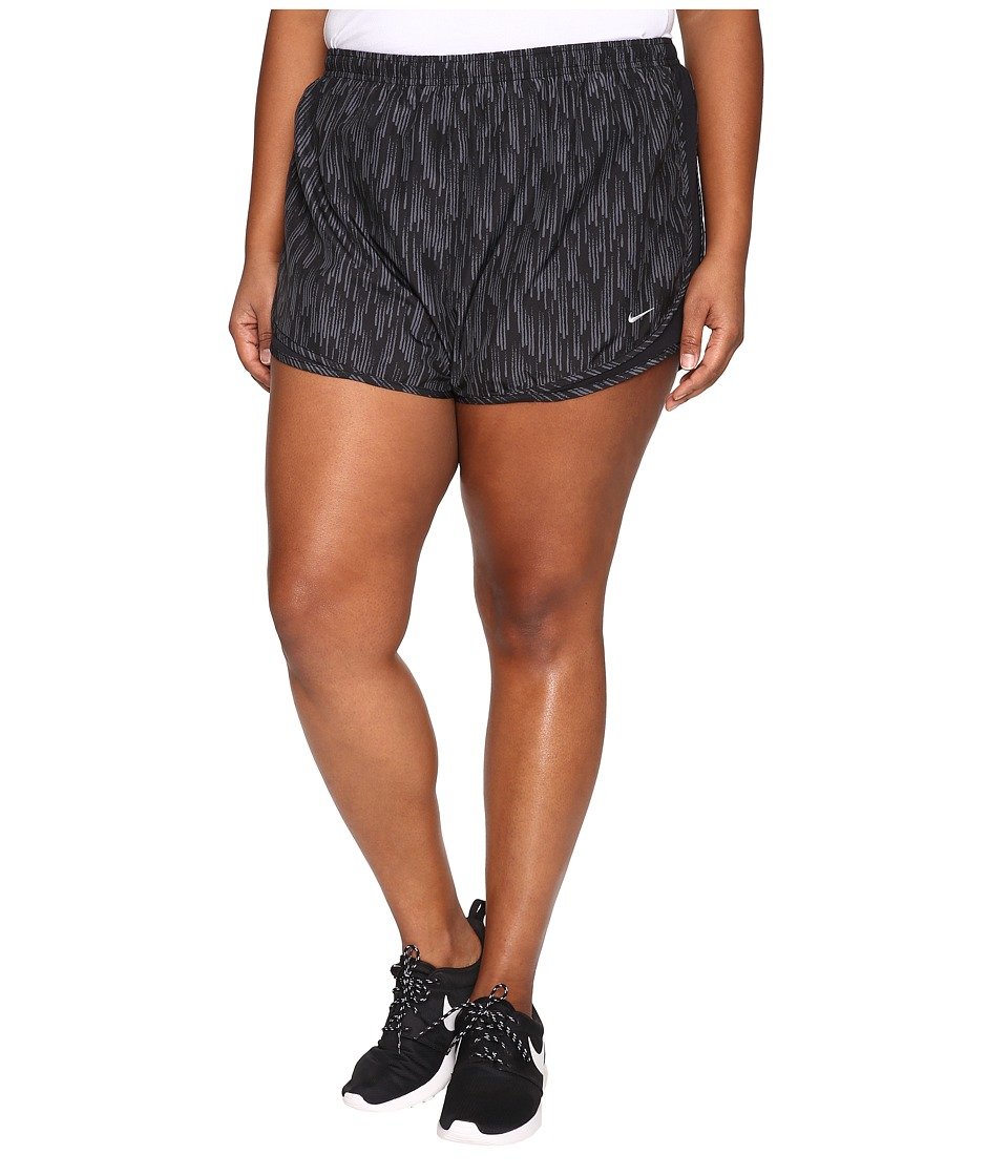 Nike - Dry Tempo Print Short (Size 1X-3X) (Black/Black/Wolf Grey) Women's Shorts