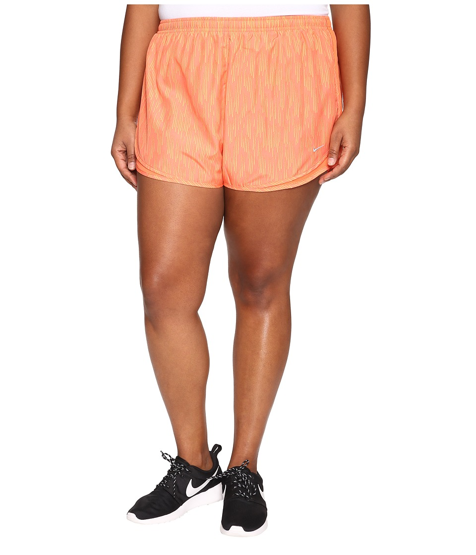 Nike - Dry Tempo Print Short (Size 1X-3X) (Turf Orange/Turf Orange/Wolf Grey) Women's Shorts