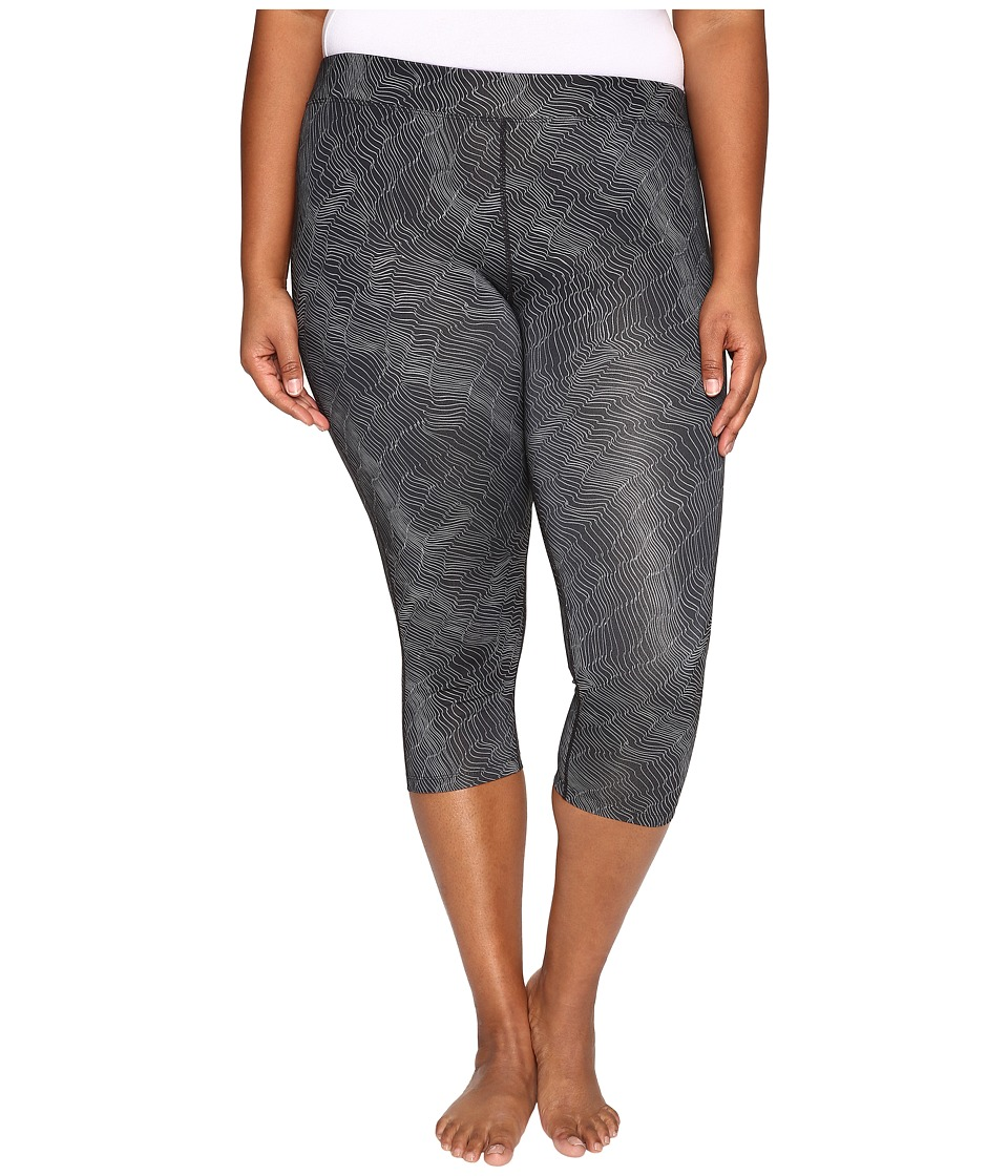Nike - Power Essential Print Crop (Size 1X-3X) (Black/Reflective Silver) Women's Capri