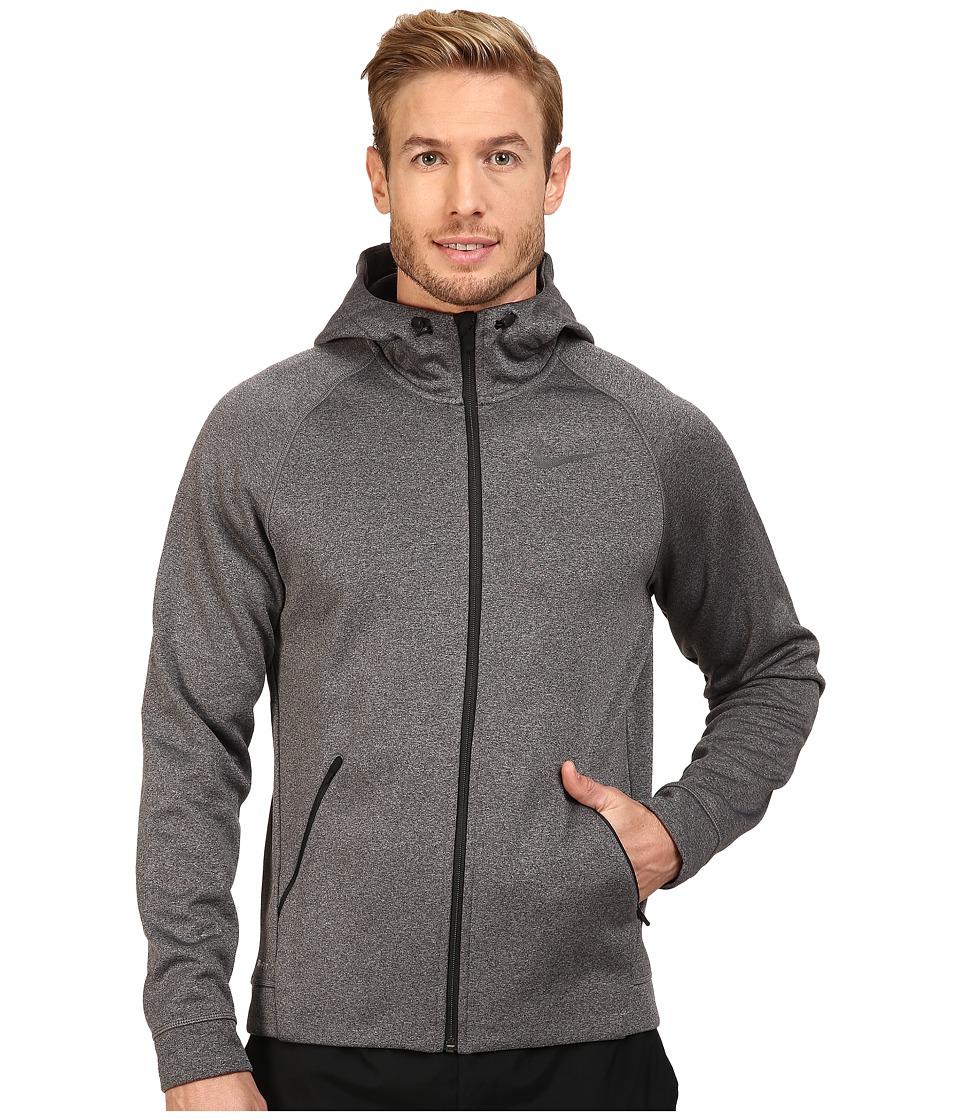 Nike - Therma-Sphere Training Hoodie (Charcoal Heather/Black/Dark Grey/Black) Men's Coat