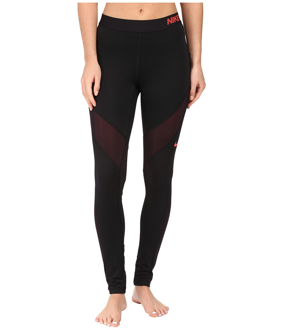 Nike - Pro Hyperwarm Training Tight (Black/Ember Glow/Black/Bright Crimson) Women's Clothing