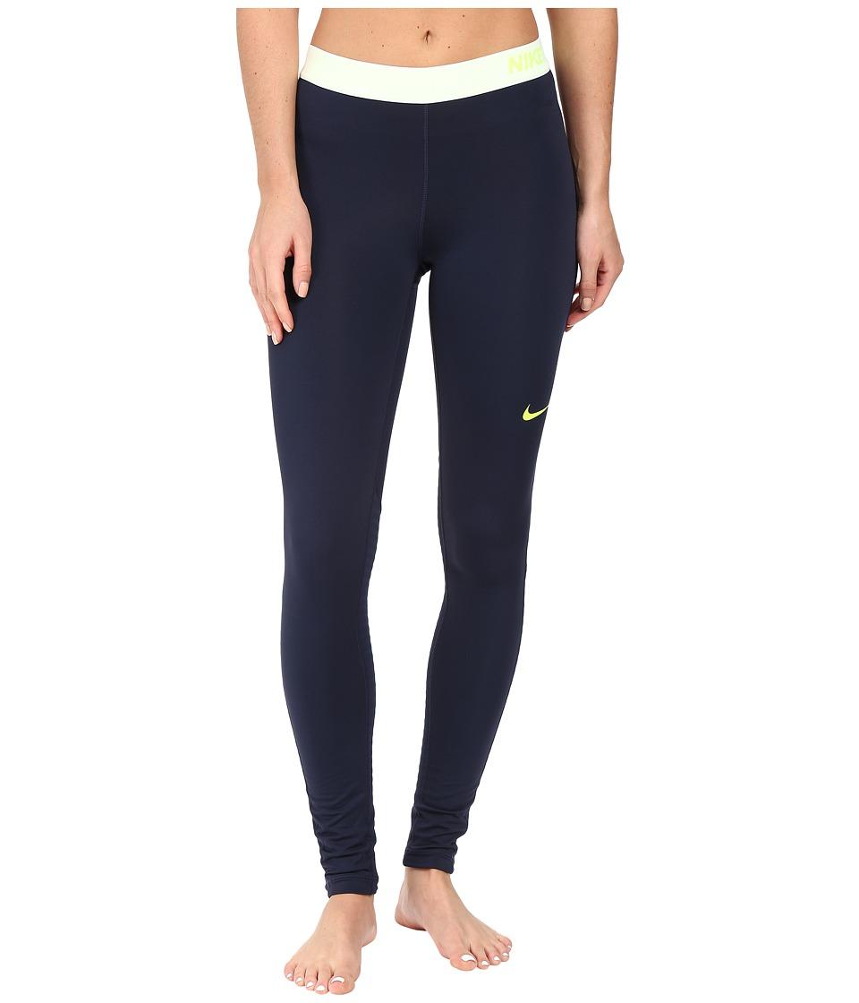 Nike - Pro Warm Training Tight (Obsidian/Obsidian/White/Volt) Women's Workout