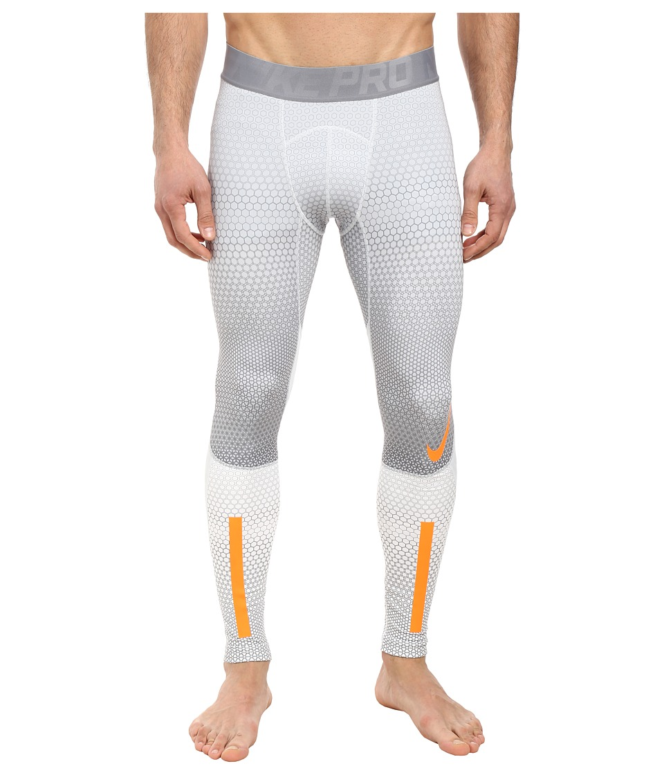 Nike - Pro Hyperwarm Tight (White/Pure Platinum/Total Orange) Men's Casual Pants