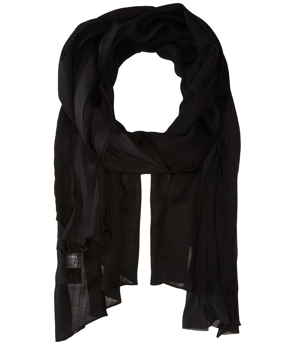Echo Design - Solid Bias Ruffle Wrap (Black) Scarves