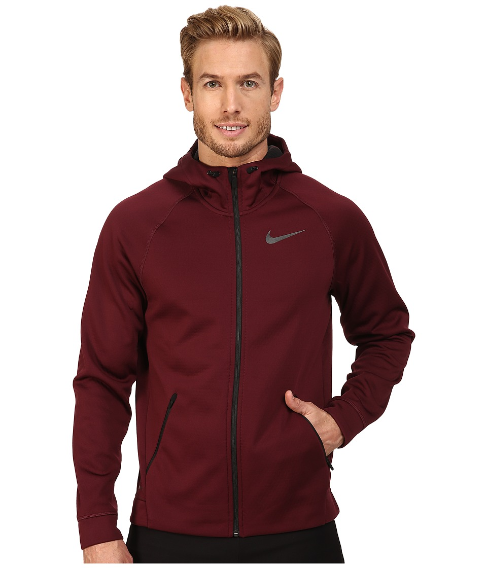 Nike - Therma-Sphere Training Hoodie (Night Maroon/Black/Black) Men's Coat