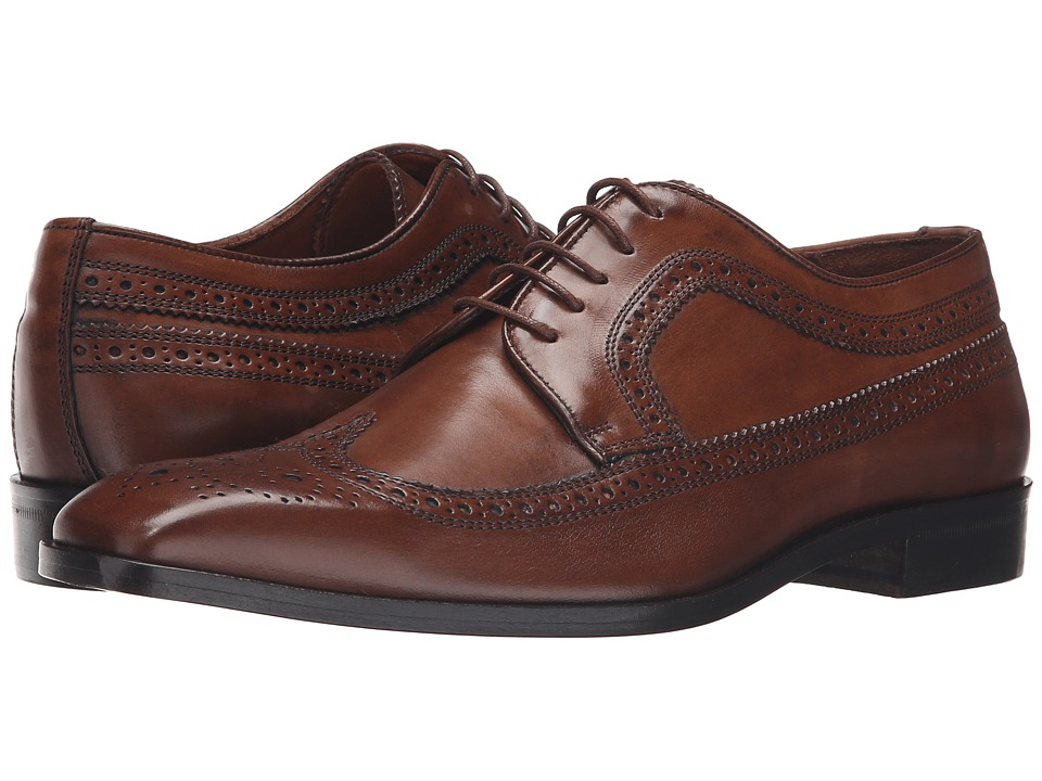 Massimo Matteo - 5-Eye Wing Tip (Brandy) Men's Lace up casual Shoes