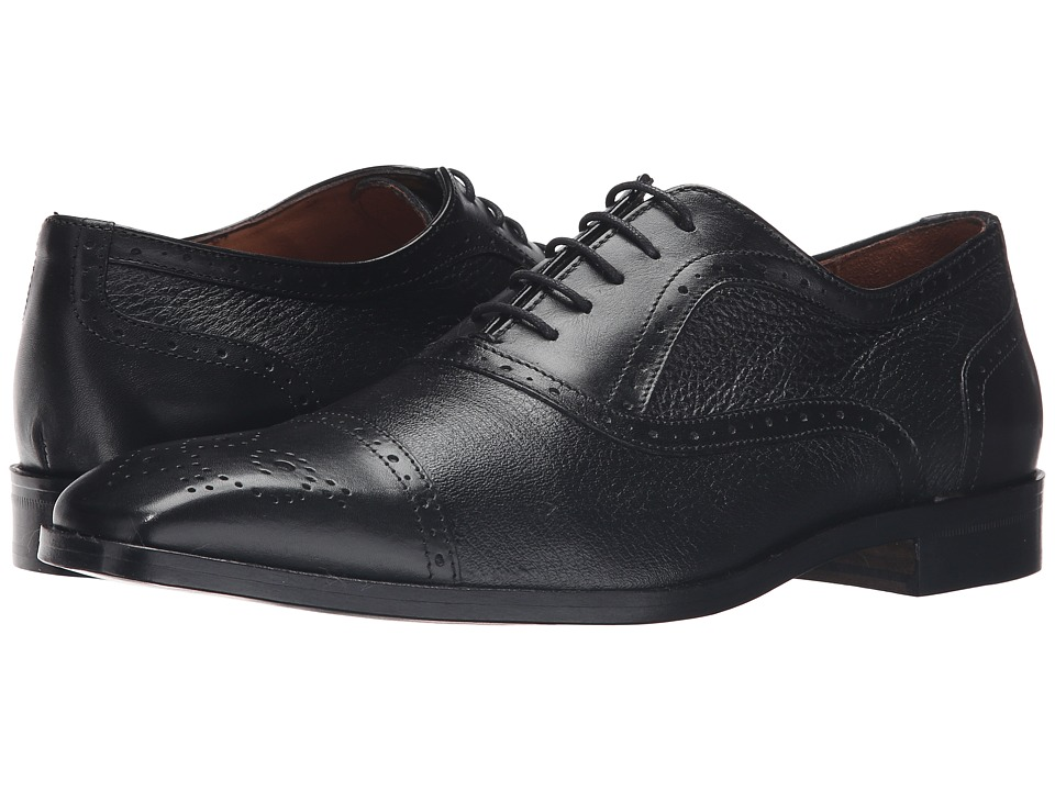 Massimo Matteo - Deerskin and Leather Bal Perf (Black) Men's Shoes