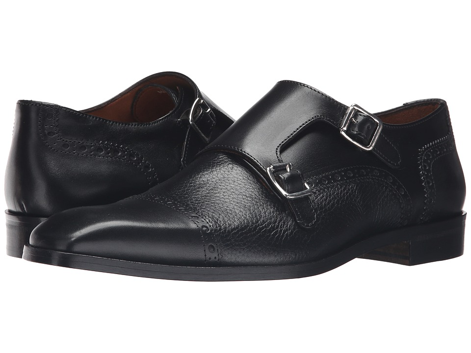 Massimo Matteo - Deerskin and Leather Double Monk (Black) Men's Shoes