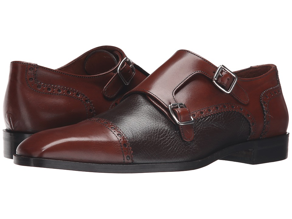 Massimo Matteo - Deerskin and Leather Double Monk (Castagna) Men's Shoes