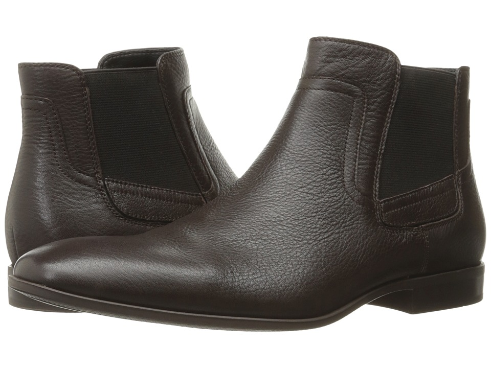 Calvin Klein - Clarke (Dark Brown Tumbled Cow Leather) Men's Boots