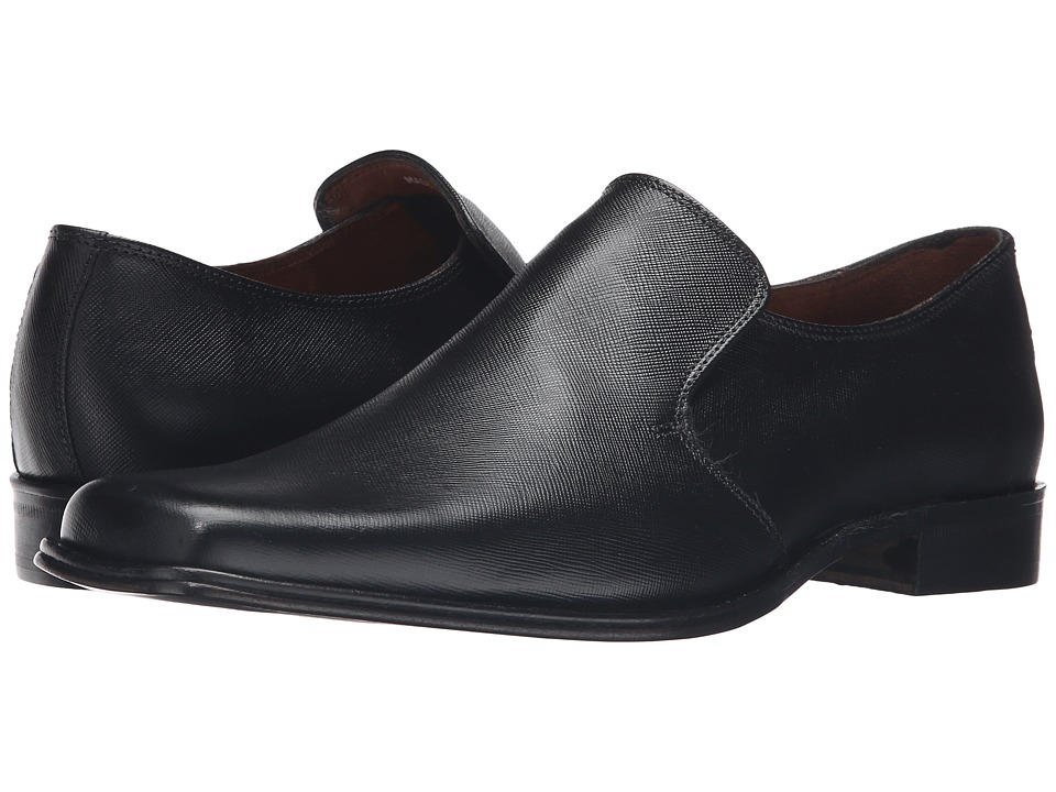 Massimo Matteo Saffiano Leather Slip-On (Black) Men