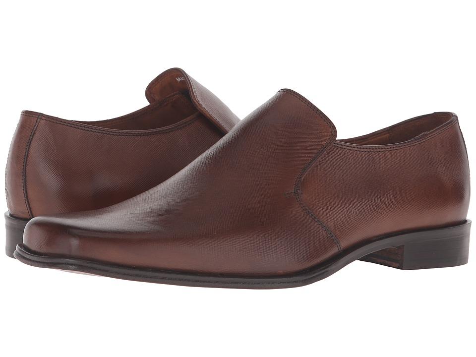 Massimo Matteo Saffiano Leather Slip-On (Brandy) Men