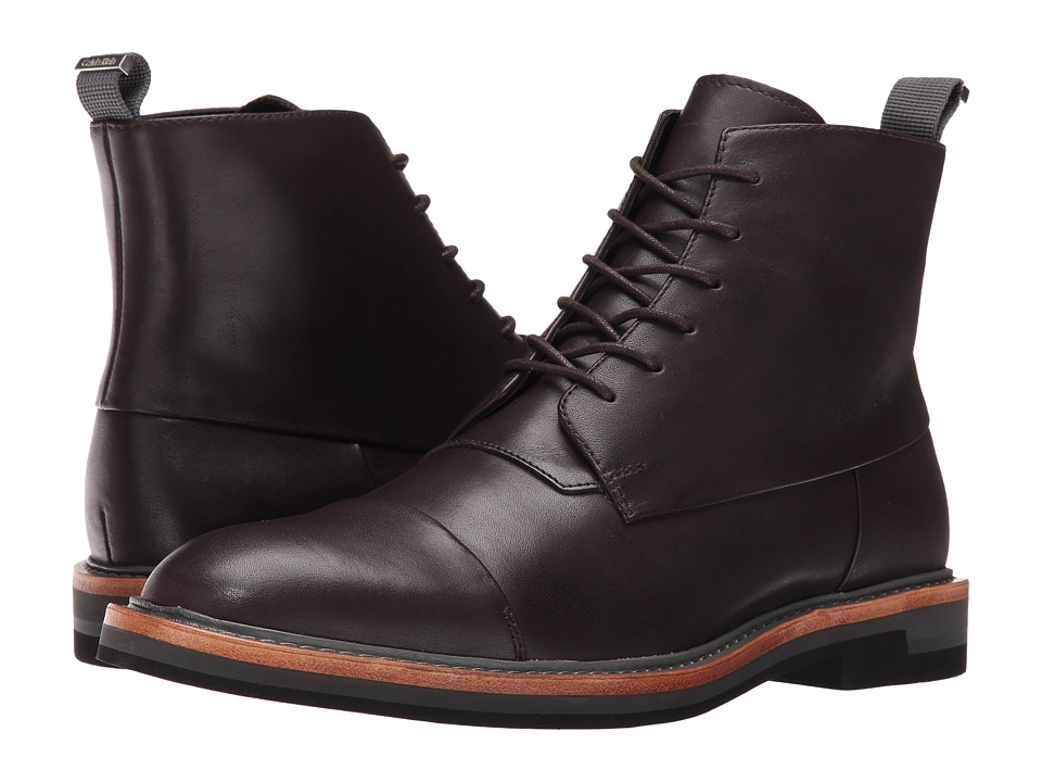 Calvin Klein - Jabin (Dark Brown Calf Leather) Men's Boots