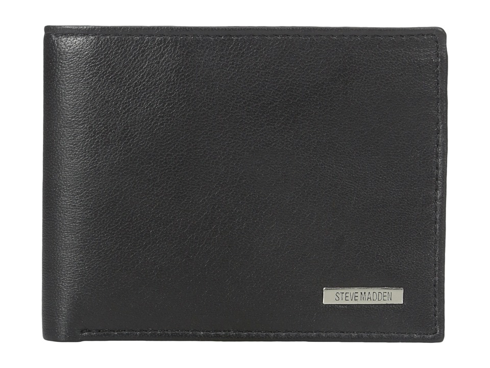 Steve Madden - Bifold Leather Wallet w/ Key Fob Gift Set (Black) Bi-fold Wallet