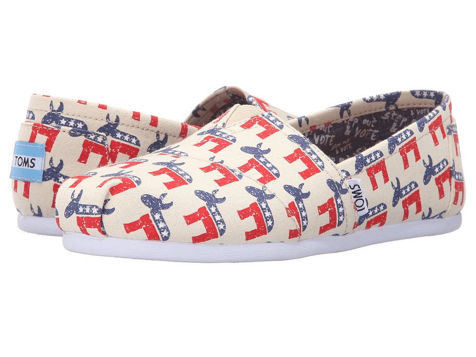 TOMS - Classic Democrat Donkeys (Natural) Women's Slip on Shoes