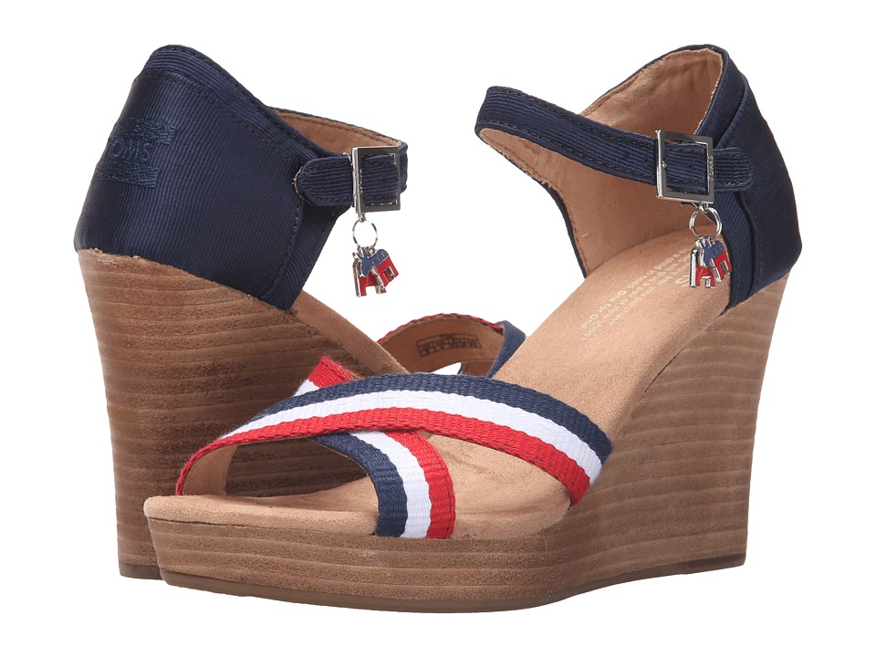 TOMS - Strappy Wedge Election Charms (Dark Blue) Women's Wedge Shoes