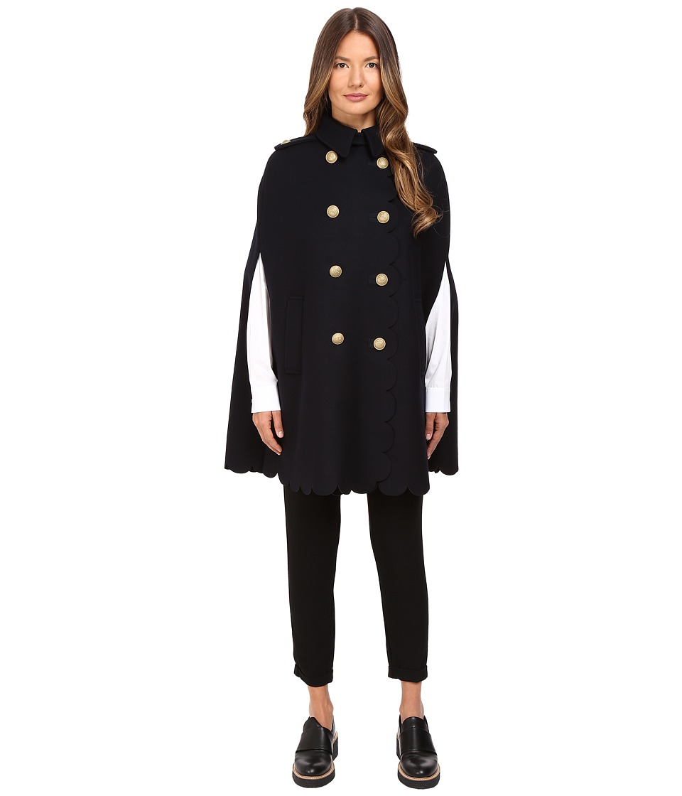 RED VALENTINO - Scallop Cape (Blue) Women's Coat