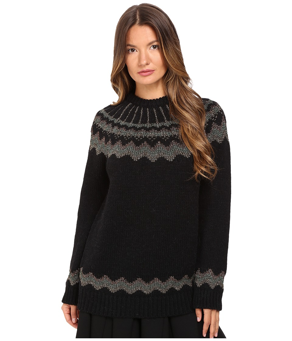 RED VALENTINO - Mix Wool and Lurex Yarn with Lopi Motif (Black) Women's Sweater