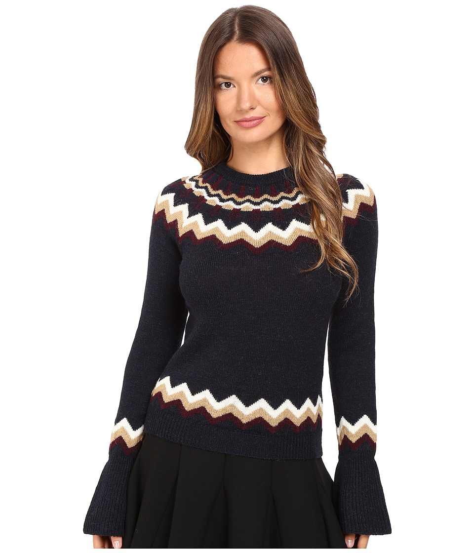 RED VALENTINO - Lopi Motif Sweater (Blue) Women's Sweater