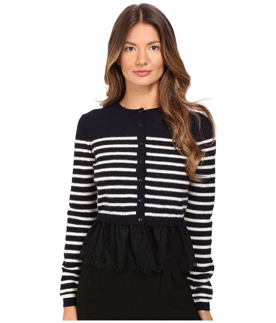 RED VALENTINO - Striped Peplum Sweater (Blue/Ivory) Women's Sweater