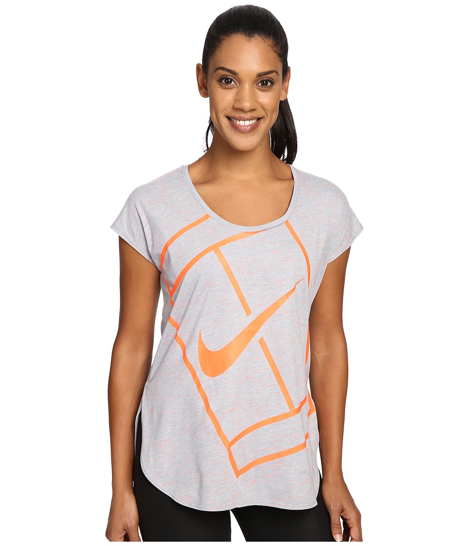 Nike - Court Baseline Tennis Shirt (Stealth/Bright Mango) Women's Clothing