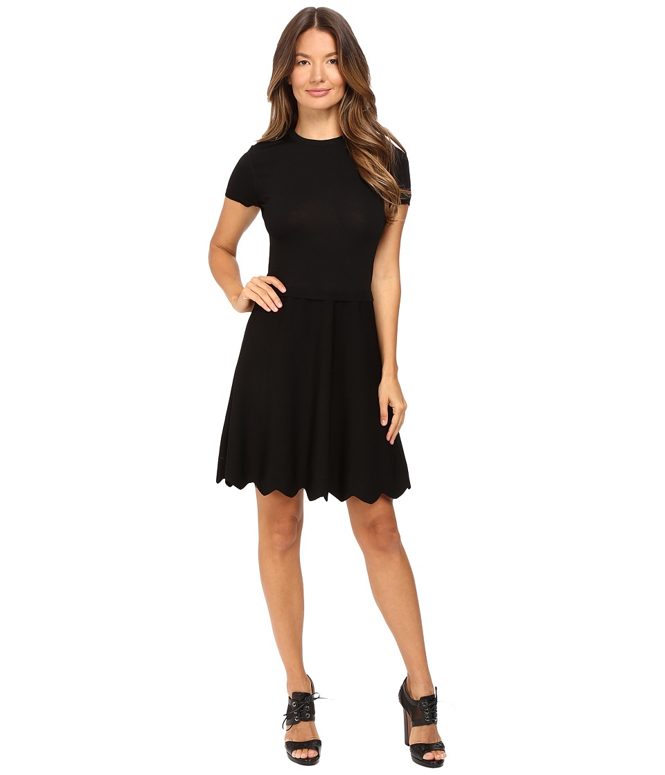 RED VALENTINO - Stretch Viscose Dress with Point D'Esprit and Scallop Detail (Black) Women's Dress