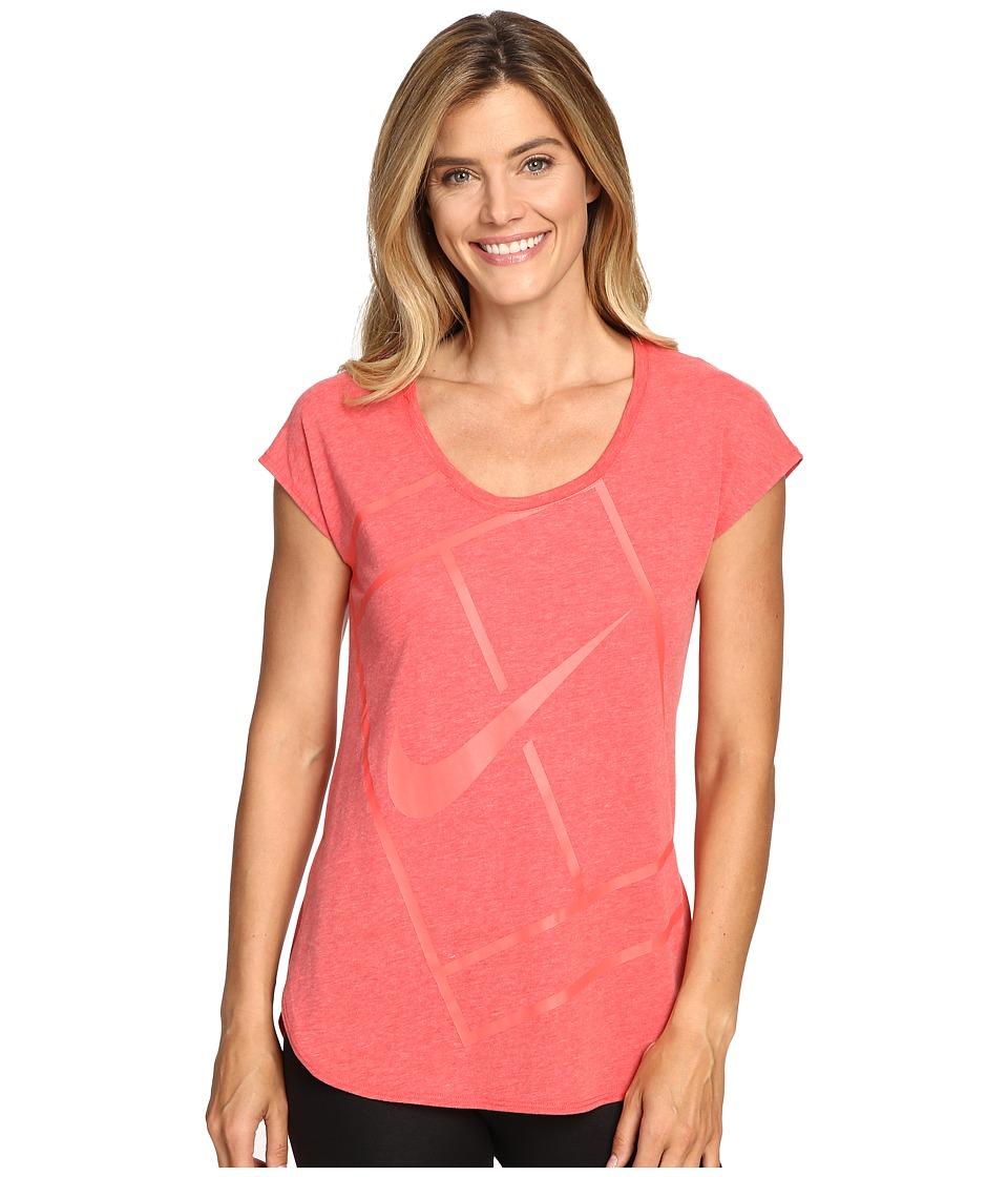 Nike - Court Baseline Tennis Shirt (Ember Glow/Ember Glow) Women's Clothing