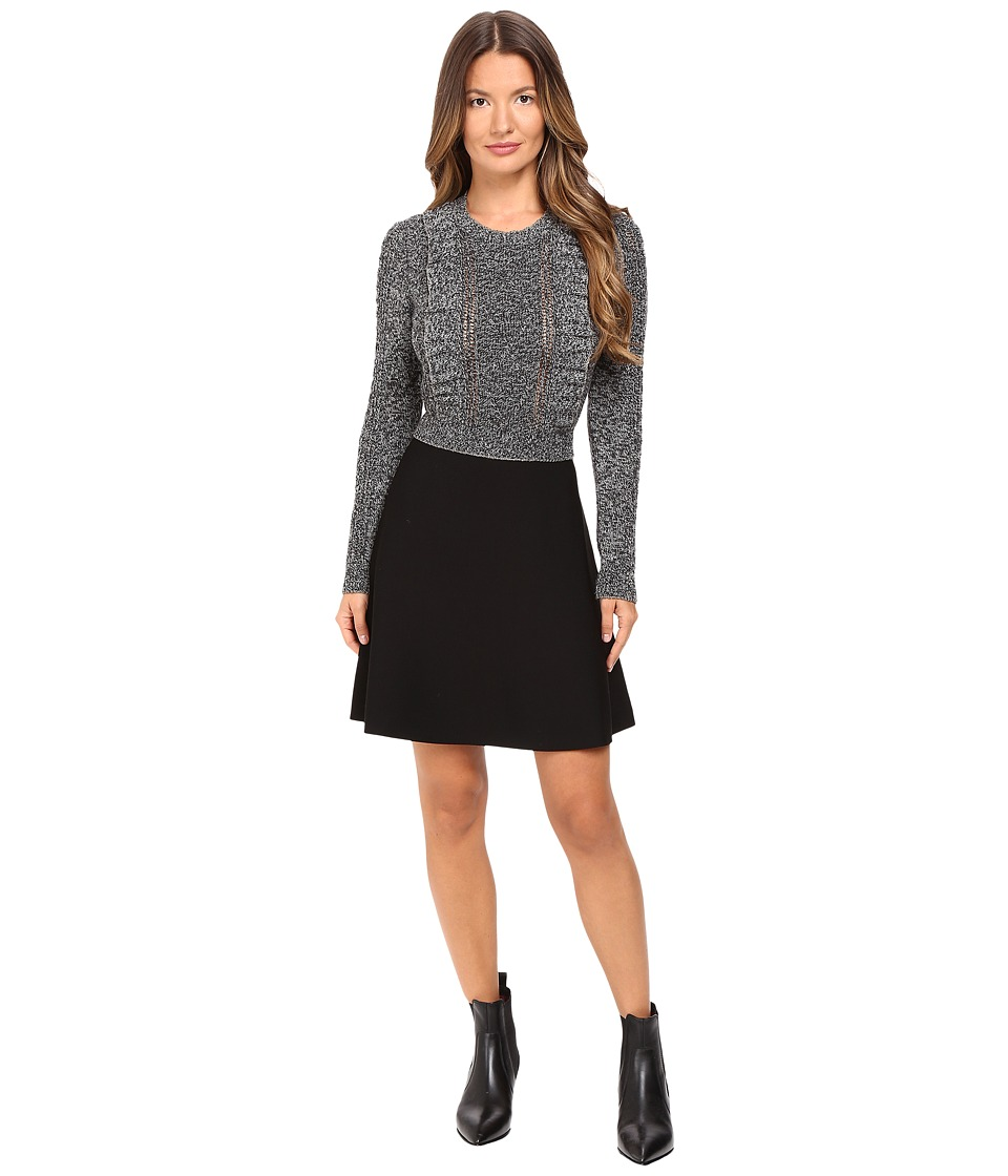 RED VALENTINO - Wool Lurex Knit Dress (Grey) Women's Dress