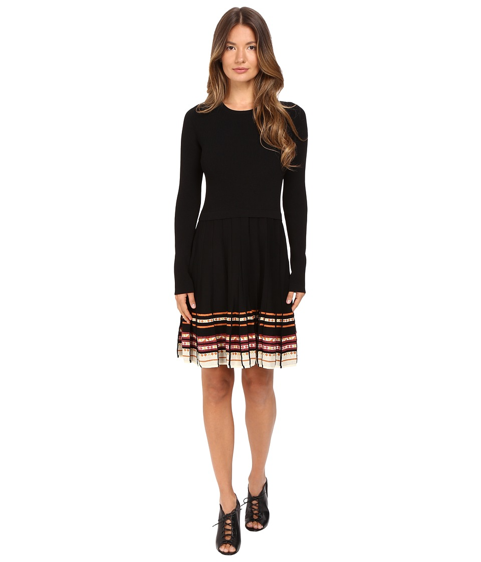 RED VALENTINO - Stretch Viscose Dress with Inuit Pleating (Black/Multi) Women's Dress