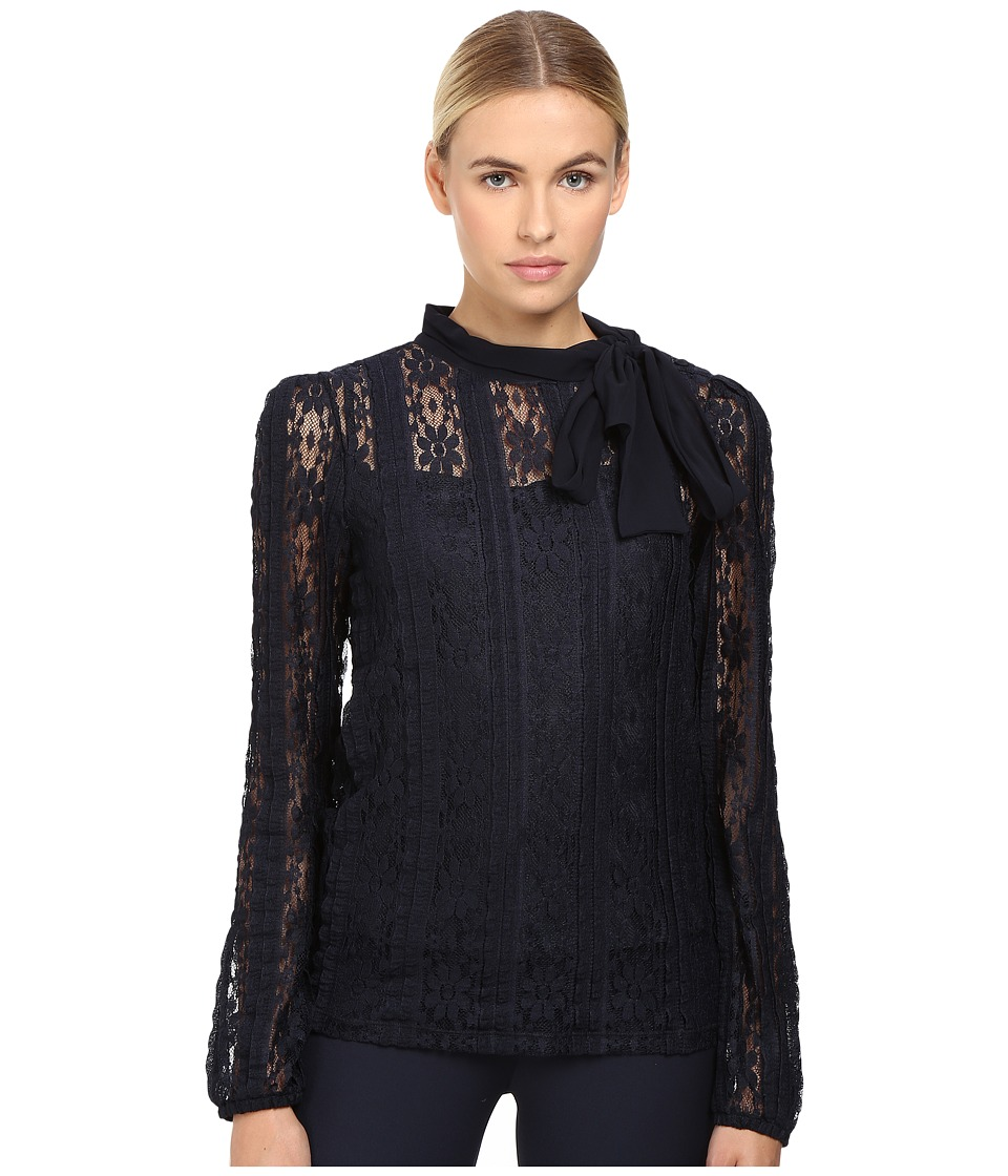 RED VALENTINO - Jersey Lace Blouse (Blue) Women's Blouse