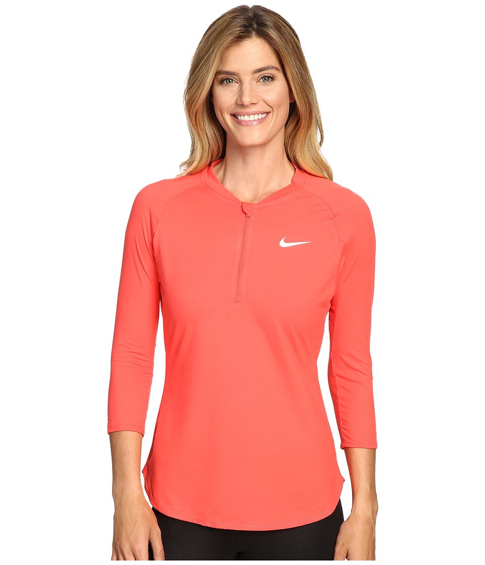 Nike - Court Dry 3/4 Sleeve Half-Zip Tennis Top (Ember Glow/White) Women's Clothing