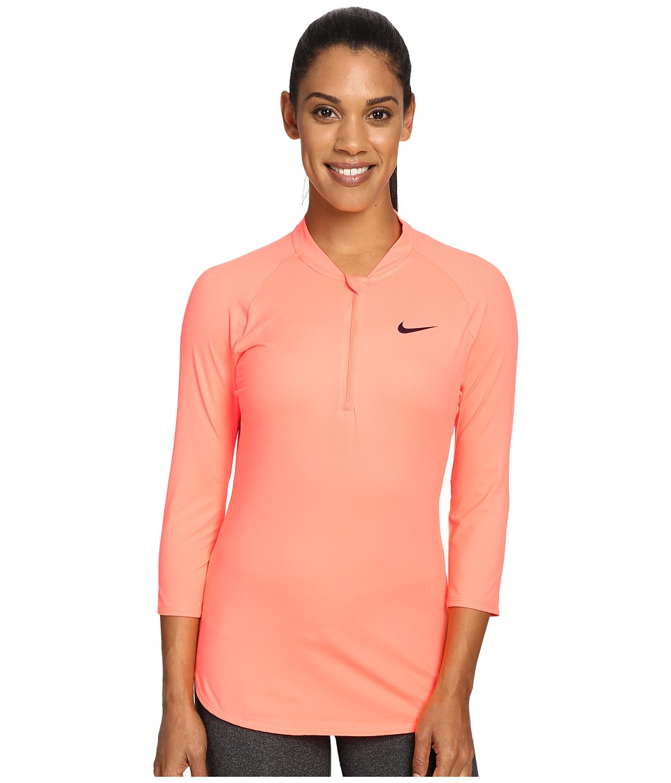 Nike - Court Dry 3/4 Sleeve Half-Zip Tennis Top (Bright Mango/Purple Dynasty) Women's Clothing