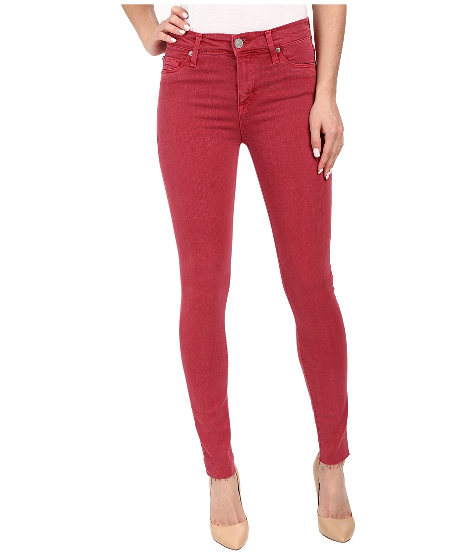 Hudson - Nico Mid-Rise Ankle Raw Hem Super Skinny in Red Stone (Red Stone) Women