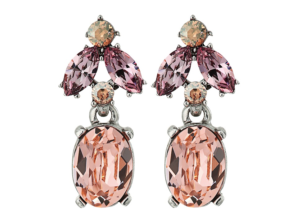 Oscar de la Renta - Floral Navette Small Drop P Earrings (Peach) Earring